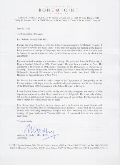 lettera HEDLEY