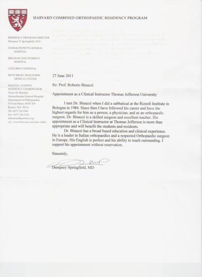 lettera SPRINGFIELD